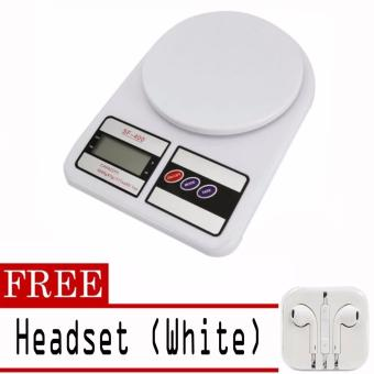 Digital Glass Kitchen Weighing Scale LCD 5KG / 1G with free Headset(White)