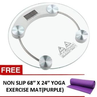 "Digital LCD Electronic Tempered Glass Bathroom Weighing Scale 8mm(Round) With Yoga Mat 68""x24"" (color may vary) Price Philippines"