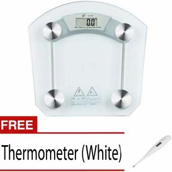 Digital LCD Electronic Tempered Glass Bathroom Weighing Scale With Free Digital Thermometer (White)