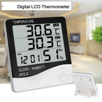 Digital LCD Household Alarm Clock Thermometer Hygrometer ElectronicTemperature Humidity Meter Indoor Outdoor Thermometers - intl