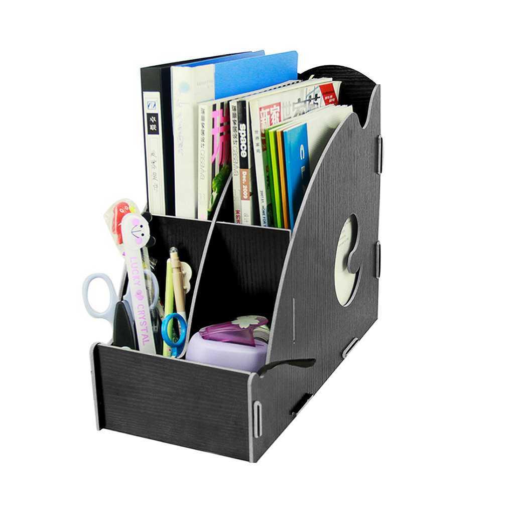 Divider Diy Wooden File Folder Doents Books Rackshelving Sundries Holder Desk Tidy Storage Organizer