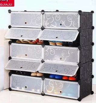 diy 10cube shoe cabinet with doors black
