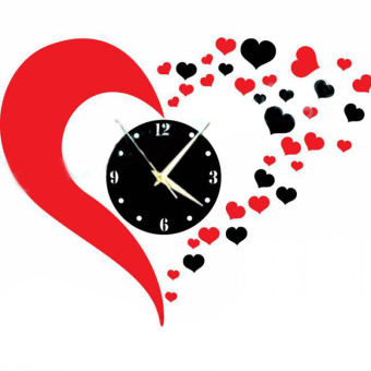 DIY 3D Heart Mirror Decoration Wall Clock For Living Room (Red+Black)