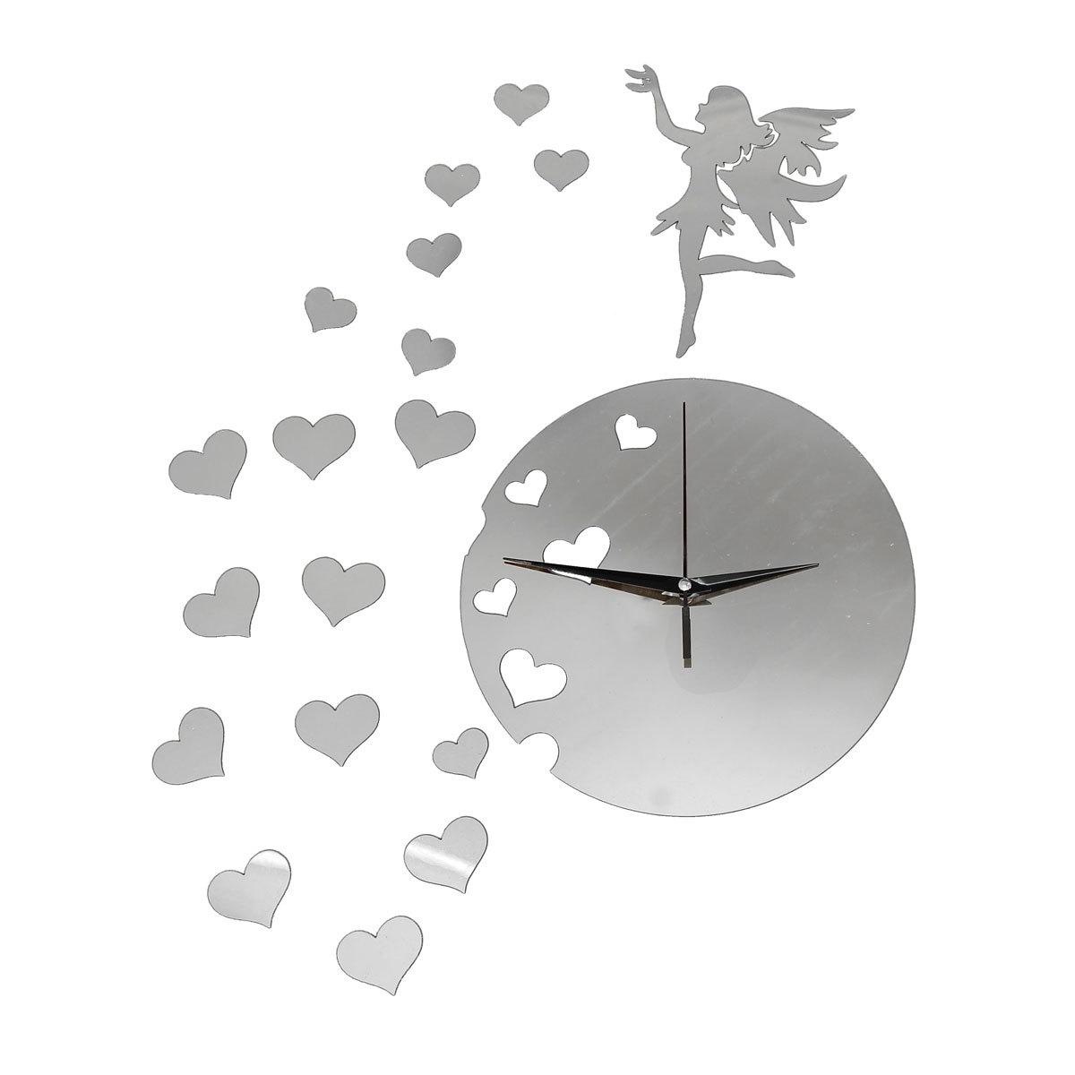 Fairy mirror wall clock 12000 wall clocks diy 3d modern acrylic fairy heart mirror wall clock home amipublicfo Image collections