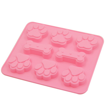 DIY Dog Paw and Bone Theme Silicone Jelly Sugar Candy Mould Fondant Craft Cake Baking Decoration Mold Ice Cube Mold Pink