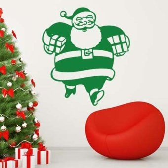 DIY Happy Santa Claus Merry Christmas wall sticker home decor shop store Green (Intl)