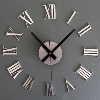DIY Luxury 3D Wall Clock Large Size Home Decoration Art Clock Silver - intl