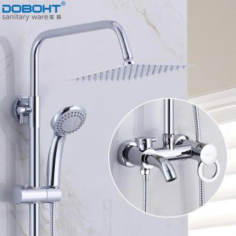 "DOBOHT Chrome 8"" Ultrathin Rainfall Shower Faucet Set Swivel TubSpout Bath Shower Mixer Tap + Handshower - intl Price Philippines"