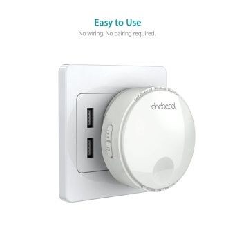dodocool Self-powered Battery-free Wireless Doorbell Kit with 1Battery-free Transmitter Push Button and 2 Plug-in Receivers CDQuality Sound 38 Melodies 4 Volume Levels 262ft Range White US Plug- intl - 5