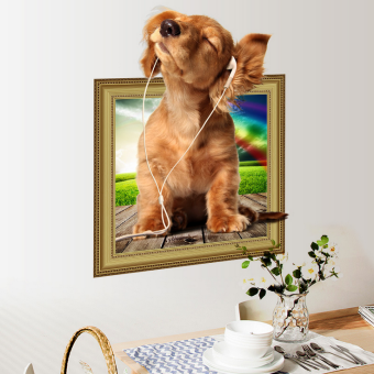 Dog 3D living room wall decoration children's room music puppy sticker wall sticker