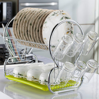 Double Layer dish rack cupboard dishes storage box dish rack