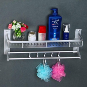 Double Layer Wall Mounted Bathroom Towel Rack with Hook