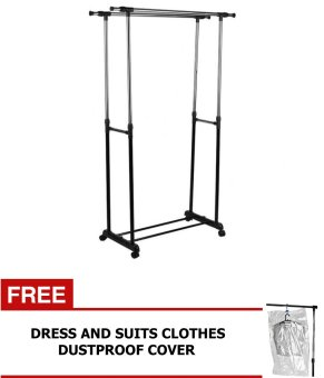 Double-Pole Clothes Rack with Free Clothes Dustproof Cover