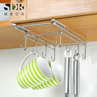 Double punched kitchen stainless steel adhesive hook hanging cup rack