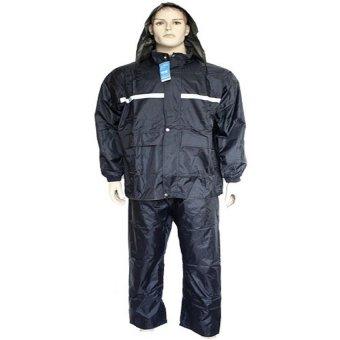 Double Side Adult Reflective Yarn Raincoat and Pants (Black)