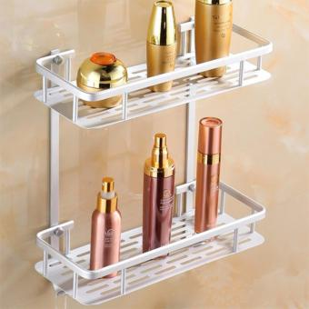 Dual Tier Wall Mounted Aluminum Rectangle Shape Bathroom Accessories Organizer (Silver)