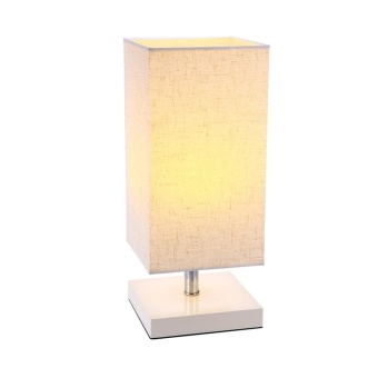 E27/E26 Socket Table Bedside Desk Lamp with Linen Fabric Shade and Wood Lamp Stand(Bulb is not included) - intl