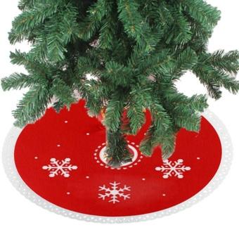 Eachago Non-woven Fabric Snowflake Christmas Tree Skirt Fabric Xmas Decoration Round Dress - intl - 2