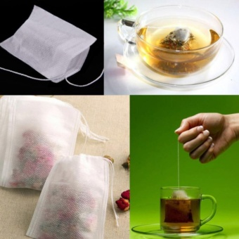 Eachgo 5.5cm*6cm 100 PCs Empty Paper Tea Bags With String Heat Seal Filter Paper Herb Loose Disposable Infuser Strainer - intl