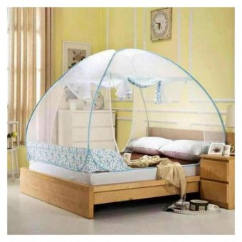 Easy to Setup Mosquito Net Canopy for Bed 180cm (Blue)