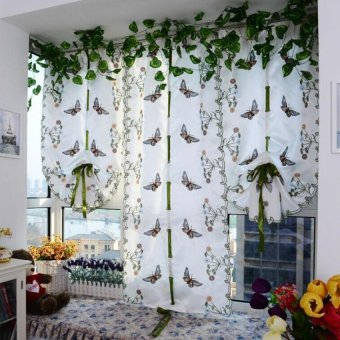 Embroidered Butterfly Tulle Finished Product Window Screens CurtainWhite Price Philippines