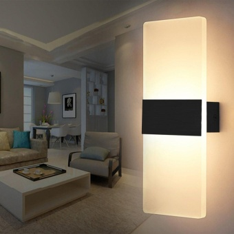 ERA 14*6cm LED Wall Lamp Bed-lighting Personal Ultra-thin PathwayLamp with Rectangle Shape Black Frame Warm White - intl