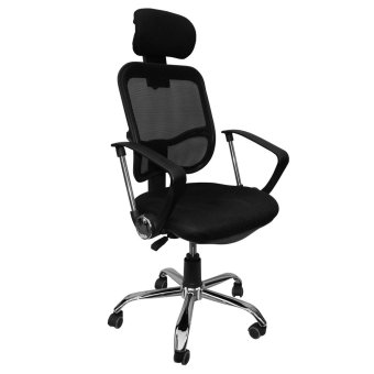 Ergodynamic EHB-888N3 Tilting Mesh Office Chair with Headrest(Black)