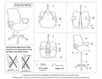 Ergodynamic EMC-124BLU Mesh Office Chair Furniture (Blue) - 3