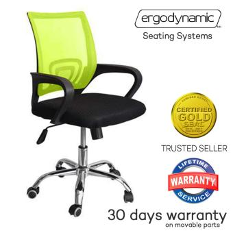 Ergodynamic EMC-P1 GRN Green Tilting Mesh Office Chair Chrome Base Furniture (Green)
