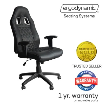 Ergodynamic ENZO Racing Faux Leather Hi Back Swivel and PneumaticHeight Adjustment Gaming Office Chair Furniture (Black)