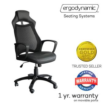 Ergodynamic Rally Racing Faux Leather Hi Back Swivel and PneumaticHeight Adjustment Mesh Gaming Office Chair Furniture (Black)
