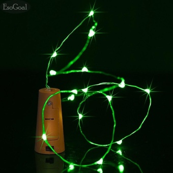 EsoGoal Wine Bottle Cork Lights - 78 inch/ 200cm 20 LED Silver Wire Lights String Starry LED Lights for DIY, Party, Decor, Christmas, Halloween, Wedding Decorate Lights(Green)