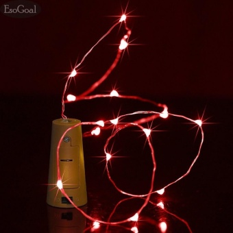 EsoGoal Wine Bottle Cork Lights - 78 inch/ 200cm 20 LED Silver Wire Lights String Starry LED Lights for DIY, Party, Decor, Christmas, Halloween, Wedding Decorate Lights(Red)