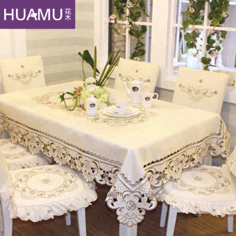 European-style embroidered table cloth flowers and