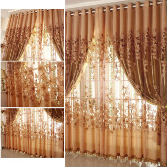 European Top-grade Morning Glory Pattern Half Shading Burnt-outCurtain for Door Window Room Decoration Window Screening PastoralVoile Curtains Bedroom Decor 2PCS