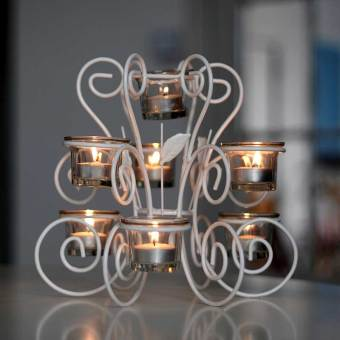 European wrought iron candle holder glass cup