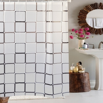 EVA Checker Cross Squares Waterproof Anti-Mould Shower Curtain