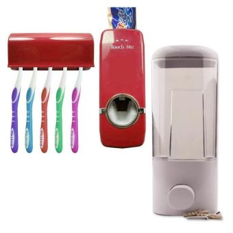 F7019-1W 1 Compartment Soap Dispenser 500ml (White) With Hands-FreeToothpaste Dispenser (Red)