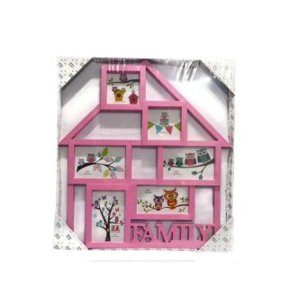 Family Home Design Collage Picture Frame (Pink)