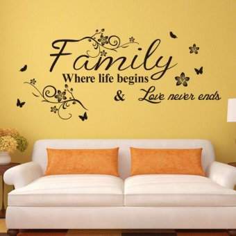 Family Where Life Begins And Love Never Ends Wart Art Words WallSticker 34cm*75cm