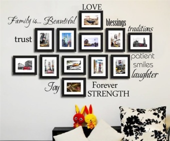 Family Words Wall Decal Set of 12 love trust blessing smile QuotesVinyl Wall Sticker Picture Wall Decal Room Art Decoration (Intl)