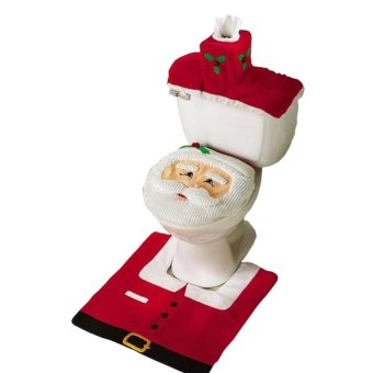Fancyqube Christmas Decorations Happy Santa Toilet Seat Cover And Rug Bathroom Set Red