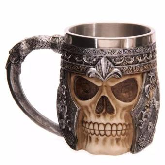 Fancyqube Personalized Double Wall Stainless Steel 3D Skull Mugs Coffee Cup Mug Skull Knight Tankard Dragon Drinking Cup H02 - intl