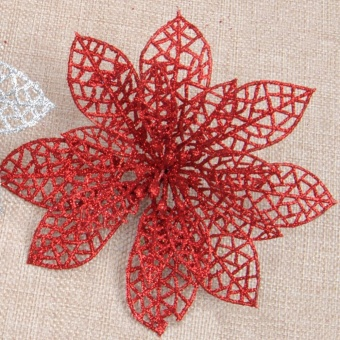 Fang Fang 10PCS Christmas Simulation Flower Xmas Tree Ornaments Fake Flower For Wedding/Party/Home Decor - Red - intl