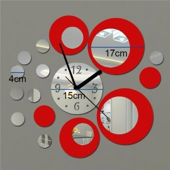 Fang Fang Acrylic Clock Design Mirror Effect Mural Wall Sticker Home Decor Craft