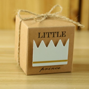 Fangfang 100 x European Little Prince Square Kraft Paper WeddingFavors Baby Shower Candy Boxes Party Gift Box With Hemp Ropes -intl