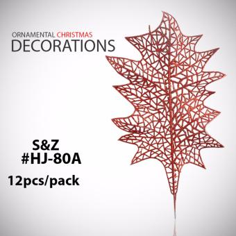 Fashion 12pcs Leaves Xmas Ornaments Christmas Home Decorations(Red) - HJ-80A