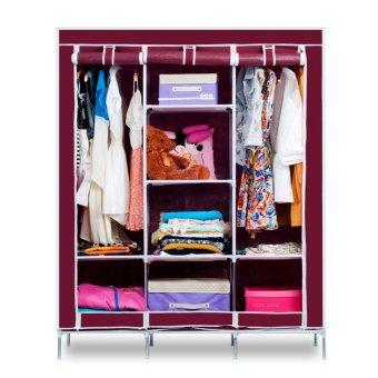 Fashion Cloth Storage Wardrobe (Wine Red)