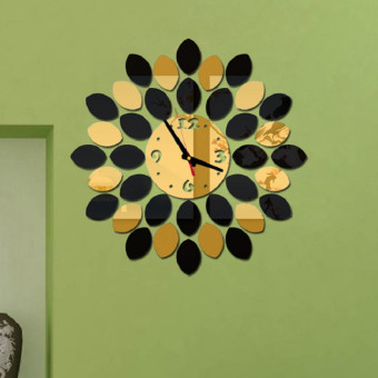 Fashion creative living room wall clock mute wall clock (Gold)