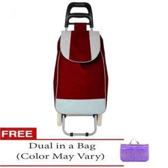 Fashion Folding Wheeled Shopping Trolley Bag (Red) with Free Dualin a Bag (Color May Vary) Price Philippines